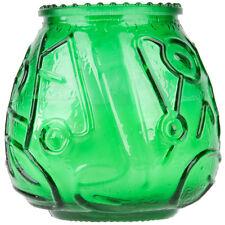 "12-Pack Green 4 1/8"" Wedding Restaurant Round Glass Wax Filled Venetian Candles"