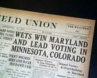U.S. PROHIBITION COMES TO AN END Beer Liquor Return 3 States 1933 Old Newspaper