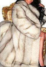 SPECTACULAR FULL LENGTH WHITE BLUE SHADOW SAGA FOX REAL FUR COAT JACKET L XL