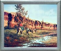 Western Cowboy Horses Animal Wall Decor Silver Framed Picture Art Print (20x24)