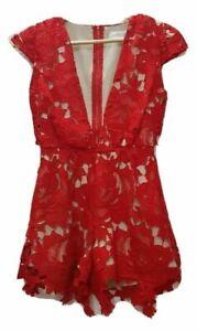 LIONESS Label Size XS Womens Red Plunge Neck Short Playsuit Jumpsuit