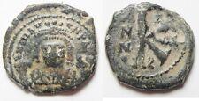 Zurqieh -Aa1453- Byzantine. Maurice Tiberius Ae 1/2 Follis. Countermark On Rever