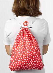 YAYOI KUSAMA 'Red / White Dots' Drawstring Foldaway Backpack / Cinch Sack *NEW*