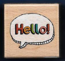 HELLO! Fun Picture Photo Tag HAMPTON ART Thought Bubble Craft RUBBER STAMP
