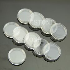 New 22mm Clear Round Cases Coin Storage Capsules Holder Round Plastic