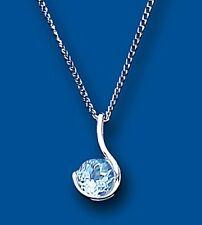 Topacio Azul Colgante Plata Maciza Collar y Cadena