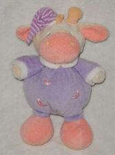 "Soft Classics Purple Plush Giraffe Cow Rattle Stuffed Baby Toy Moons 10"""