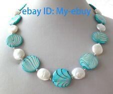 20mm Green Blue Sea Shell&White Coin Pearls Necklace