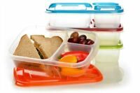 3 Compartment Multicolor Plastic Bento Lunch Box Food Storage Container 4 Pack