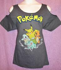 1X 14/16 Cute Pokemon Squirtle punk GOTHIC cold shoulder anime DIY t shirt top