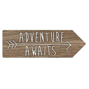 Metal Wall Sign - Adventure Awaits Wooden Style Outdoor Activities Arrow Plaque