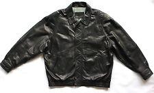 Black Lambskin Lamb Leather Bomber Jacket Coat Ferracci Men's Size 3XT