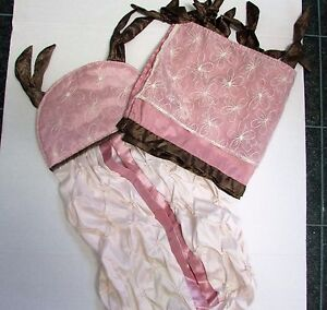 Beautiful CoCaLo Infant Nursery Window Valance and Diaper Stacker Pink Chocolate