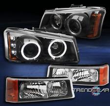 2003+ SILVERADO/AVALANCHE CCFL HALO LED BLACK/AMBER PROJECTOR HEAD LIGHTS+BUMPER