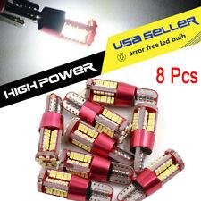 8X T10 White Light CANBUS ERROR FREE 501 W5W 3014 57SMD Car LED Lights Bulbs
