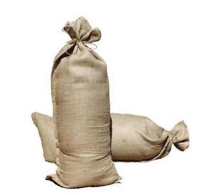 Hessian Sandbag 10Pk Flood Protection Sand Bag With Ties 84x36cm (10oz)