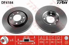 2x Brake Discs (Pair) Vented 266mm DF4184 TRW Set 424983 V092 1618890480 424916
