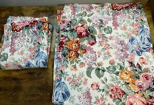 "2 Ralph Lauren Blue Label Allison Curtain Panels 41""x86""  French Country Floral"