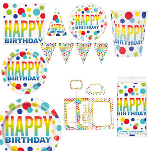 Happy Birthday Rainbow Spots Party Tableware Decorations Table Cover Plates Cups