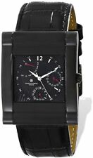 Mens Charles Hubert IP Black Stainless Leather Band 35x43mm Watch