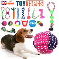 15 TOUGH DOG PUPPY PET TOY ROPE BUNDLE TEETH CHEW KNOT BALL COTTON ROPE TOYS KIT
