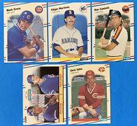 (5) 1988 Fleer Rookie Card Lot Edgar Martinez Mark Grace Ken Caminiti