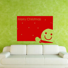 Wall Decal Merry Christmas Congratulation Inscription Letter Snowman M578