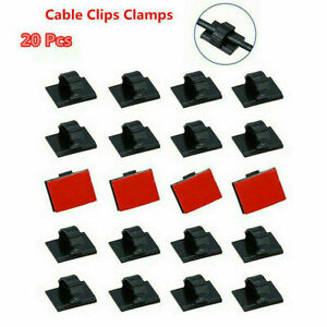 20x Car Wire Clips Self-adhesive Tie Cable Holders Rectangle Plastic Mount Clamp