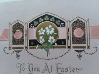 DECO Vtg EASTER LILY & PINK RIBBON Black & GOLD Greeting CARD Booklet