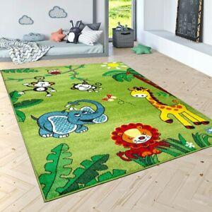 Tappeto per bambini pelo corto giungla con animali verde