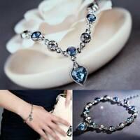 Ocean Heart Austrian Crystal Bracelet Adjustable Bangle 925 Chain Jewelry Gift