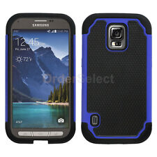 Hybrid Rugged Rubber Hard Case for Phone Samsung Galaxy S5 Active Blue 50+SOLD