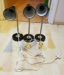 3 Ikea B1022 FLEXIBLE FLEXI NECK STUDY TABLE DESK LAMP OFFICE BEDROOM LIGHT