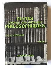 TEXTES CHOISIS DES AUTEURS PHILOSOPHIQUES VOL 2 1965 CUVILLIER