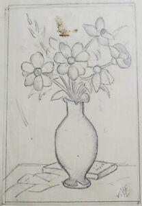 """HERMIA VON MALTZAHN GERMAN PENCIL SKETCH """"STILL LIFE FLOWERS"""" C 1930 A"""