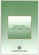 FOLDER BOLAFFI LITUANIA 7 OTTOBRE 1990 CON PRIMA SERIE FRANCOBOLLI + 3 INTERI