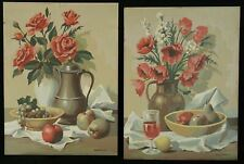 PAIR OF VINTAGE MID CENTURY PAINT BY NUMBER ROSES IN VASE STILL LIFE PAINTING