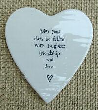 EAST OF INDIA WHITE PORCELAIN HEART SHAPED COASTER FRIENDSHIP GOOD FRIEND GIFT