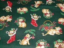 OOP 1 Yd Wamsutta Hallmark Cotton Fabric~A Christmas Gathering~Cats On Green~44""