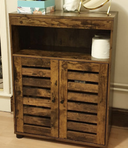 Vintage Storage Cabinet Industrial Wooden Hallway Cupboard Rustic Entryway Shelf