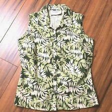 Villager Floral Sleeveless Button Front Top Shirt S Petite Cotton Stretch Green