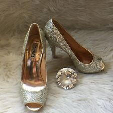 Badgley Mischka Kassidy Silver Glitter Women's Evening Wedding Heels Pumps Sz 8