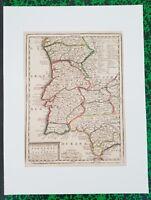 XVIII ème - Les Royaumes de Portugal - Superbe & Rare Carte Chiquet 32x24 - 1719