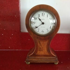 Antique French Balloon Mantel Clock-Mahogany Inlaid.Gibson of Braintree.Working.