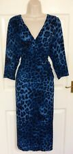 PER UNA Navy Blue Black Pencil Shift Sheath Evening Occasion Wrap Dress Size 16
