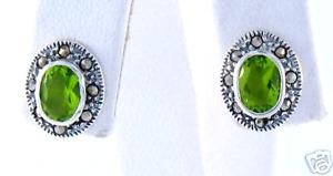 Sterling Silver Marcasite Oval Bezel Green Peridot Stud Earrings Simple Classic