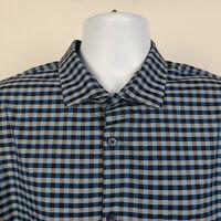 Calibrate Non Iron Blue Gray Gingham Check Mens Dress Button Shirt Size XL