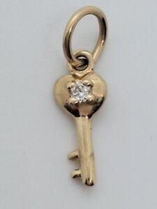 Super Tiny 14k Yellow Gold Key Charm Pendant 1/4 Inch Child Love Lock Estate WOW