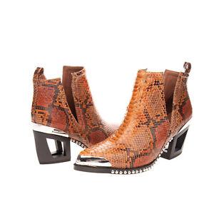 RRP€190 JEFFREY CAMPBELL Leather Ankle Boots EU 38 UK 5 US 7.5 Snakeskin Pattern
