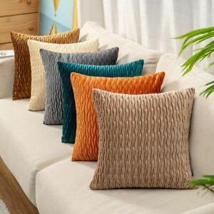 Striped Geometry Velvet Throw Pillow Waist Cushion Cover Sofa Home Bedroom Decor